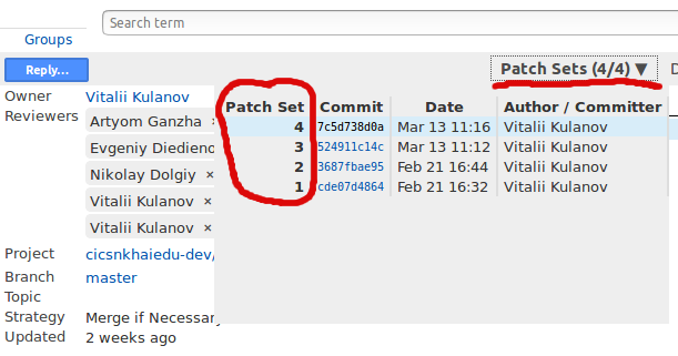 List of patch sets in gerrit